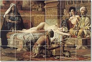 Gyula Tornai desnudos del diseño tradicional renovaciones. 17 x 64,77 cm con (24) 4,25 x 4,25 azulejos de cerámica.