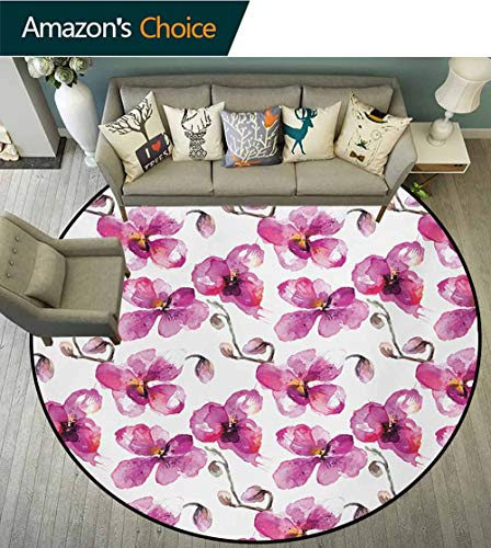 Watercolor Machine Washable Round Bath Mat,Flowering Orchid Branches Spring Time Feng Shui Inspired Bouquet Non-Slip No-Shedding Bedroom Soft Floor Mat,Diameter-47 Inch Fuchsia Cocoa Pale Orange ()