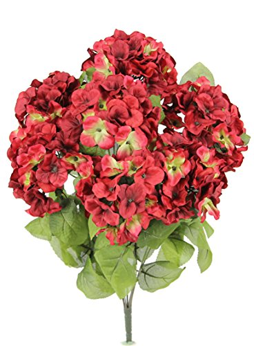 Admired By Nature 7 Stems Artificial Full Blooming Stain Hydrangea for Home, Restaurant, Wedding & Office Decoration Arrangement, (Cranberry Stems)