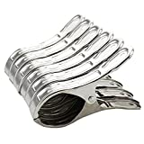 8 Pack Stainless Steel Beach Towel Clips for Beach Chairs Or Pool Lounges - Keep Your Towels,Clothes,Quilt,Blanket from Blowing Away Or Sliding Down (8, Length 12cm)