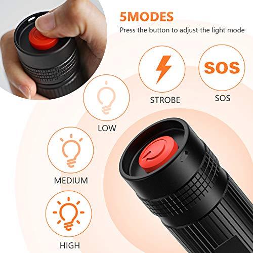 LETION Extrem Hell LED Taschenlampe S3000,1500 Lumen Zoombar Taschenlampe mit 5 Modi und langer Nutzungsdauer Wasserdicht Geeignet für Outdoor, Wandern, Camping 4 AA Batterie(Nicht enthalten)