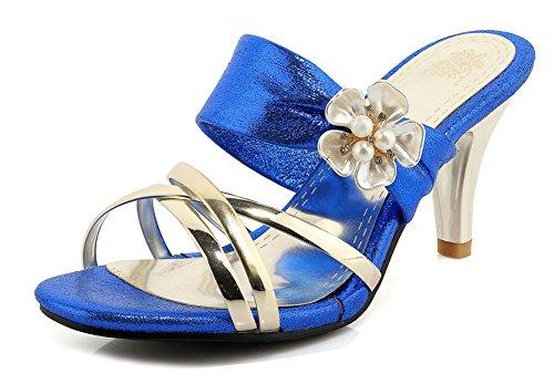 Enfiler Bal Talon Bleu Aisun 5cm Moyen Femme Chic Décor Fleurs à 7 Mules 11xzTwU