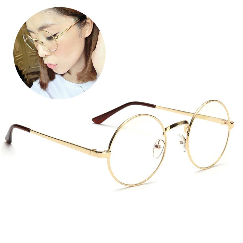 Retro Runde Brille Mit Fensterglas Damen Herren Brillenfassung ...