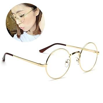 Retro Runde Brille Mit Fensterglas Damen Herren Brillenfassung ... 5983e1810b