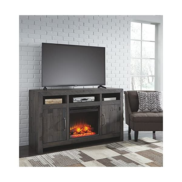 Signature Design by Ashley Mayflyn Large TV Stand with Fireplace Option Charcoal