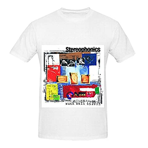 Stereophonics Word Gets Around 80s Mens Crew Neck Casual Tee Shirts White (Hers And His Crewneck)