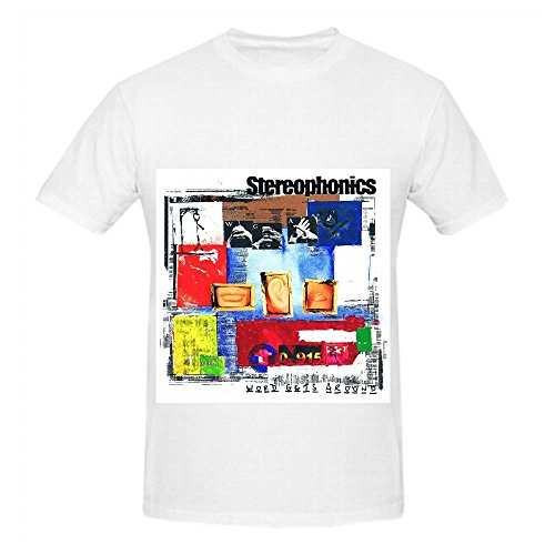 Stereophonics Word Gets Around 80s Men Crew Neck Digital Printed T Shirt White (Lands End Crew Shirt)