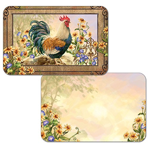 Counterart Reversible Set of 4 Wipe-Clean Decofoam Placemats - Country Charm Rooster (Rooster Table Mats)