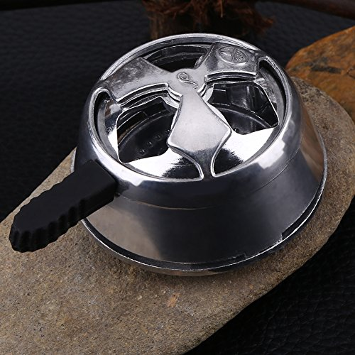Silver Heat Management Coal System Metal Holder Head with Black Silicone Handle Long Charcoal Funnel box by Walfront (Image #7)