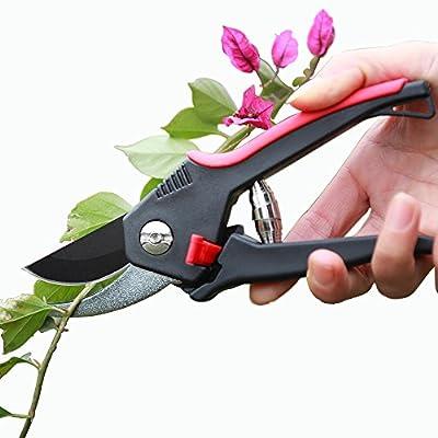 Heavy Duty Garden Pruning Shears,Garden Cliper, Strong Bladed Pruner For Roses, Trees, Shrubs and Hedges, Premium Pruner for Long Time Work, Non-Slip Ergonomic Handles Pruner