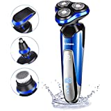 Electric Razor Shaver for Men 4D Floating Cutter Rechargeable 4 in 1 Rotary Shaving Machine Beard Nose Hair FaceTrimmer Cordless Waterproof Wet and Dry Grooming Set by HOMEASY