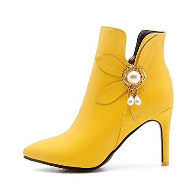 a1dce0f5fa Amazon.com | T-JULY Women's Winter Flower High Heel Boots Rhinestone ...