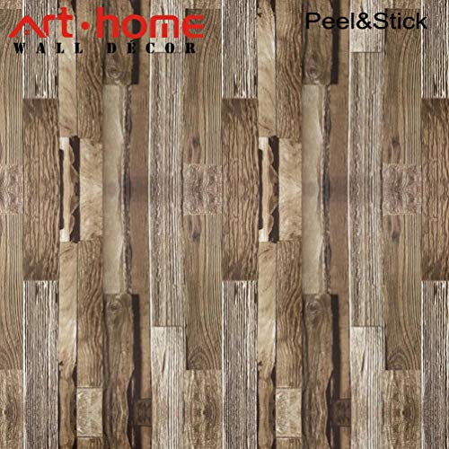 Wood Wallpaper,565x53 cm Self Adhesive Peel and Stick Vinyl Decorative Film Roll Shiplap Wall Covering for Wall Kitchen Cabinet Furniture Shelf Liner Drawer Desk Table ()