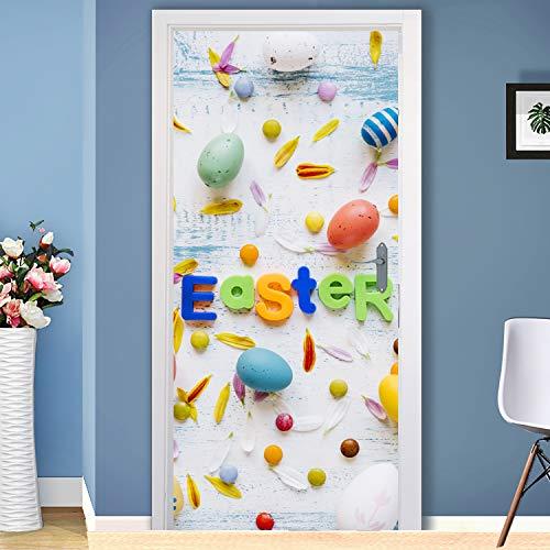 Happy Easter Peel - Holiday Happy Easter Door, Peel and Stick Door Decal, Easter Removable Door Skin, Front Door, Bedroom, Easter Door Decoration ND73