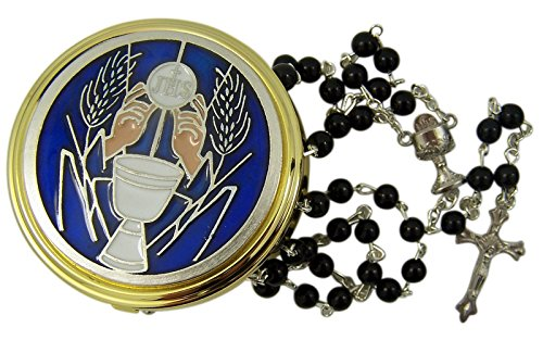 First Communion Blue Enamel IHS Chalice Gold Tone Pyx with Rosary, 2 1/4 Inch