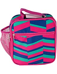 School Lunch Box for Boys and Girls, Insulated, with Water Bottle Pocket (Pink, Blue, Green Zig Zag)