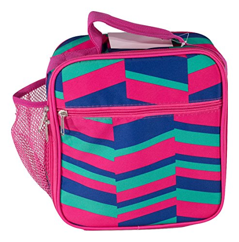 School Lunch Box for Boys and Girls, Insulated, with Water Bottle Pocket (Pink, Blue, Green Zig Zag) ()