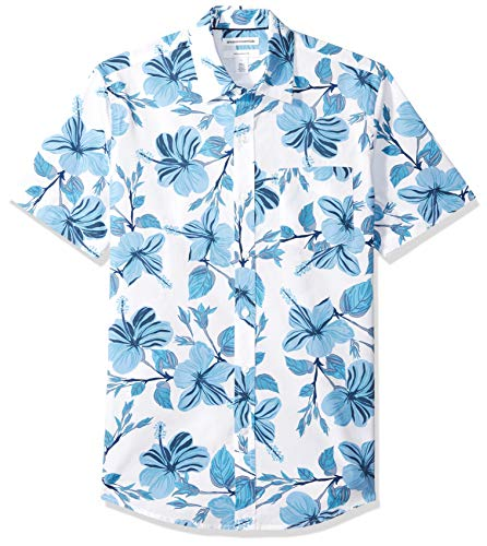 Amazon Essentials Men's Slim-Fit Short-Sleeve Print Shirt, Large Floral, Medium