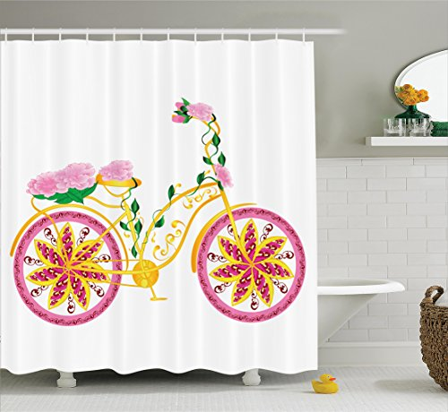 Fantasy Long Seat - Ambesonne Bicycle Decor Shower Curtain Set, Fantasy Bike with Exotic Swirling Floral Detail on The Seat and Tires Hippie Life Image, Bathroom Accessories, 75 inches Long, Pink Yellow