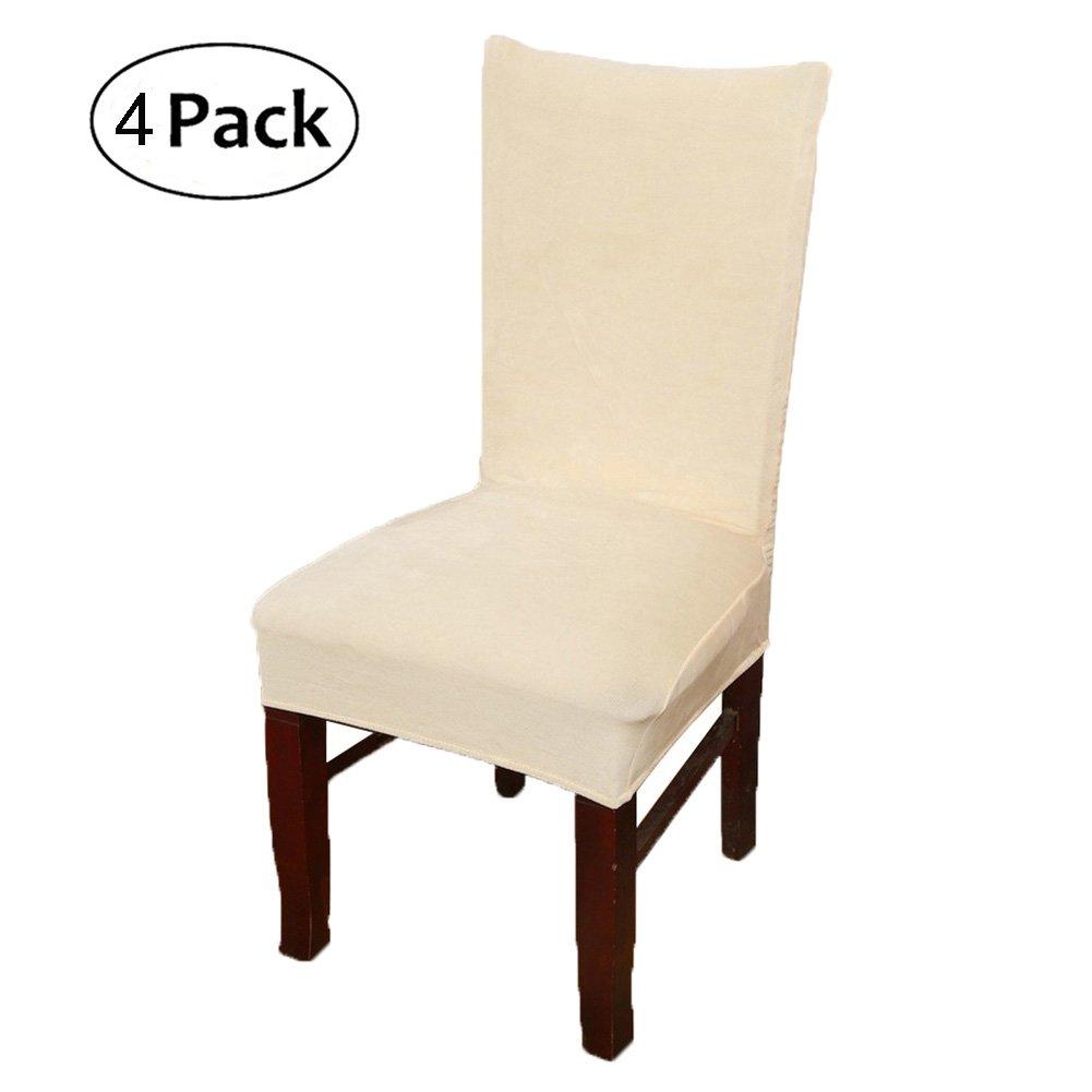 1 X Tessuto Camel Smiry Stretch Sedia copertine per Sala da Pranzo sedie con Rivestimento in Velluto Slipcovers