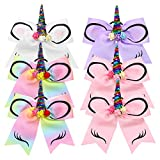 QtGirl 6pcs Unicorn Cheer Hair Bow for Girls, Large Hair Bow with Ponytail Holder Elastic Hair Ties for High School College Cheerleading