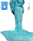LAGHCAT Mermaid Tail Blanket Knit Crochet Mermaid Blanket for Adult, Oversized Sleeping Blanket, Wave Pattern (75'x35.5', Mint Blue)