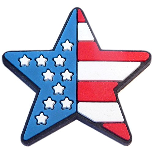 Patriotic Star US Flag Rubber Charm for Wristbands and - Us Charm Flag