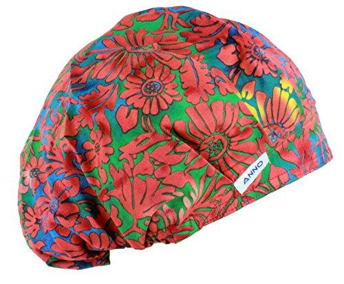 Red Scrub Hat (Anno Womens Classic Surgical Cap Scrub Bouffant Hat Print Red)