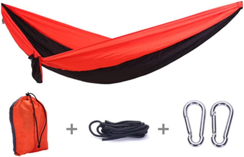Portable Camping Hammock, Hiking Hammock 600Ib Anti-Fade Washable Lightweight Single Nylon Parachute Camping Hammock for Backyard, Porch, Outdoor and Indoor Use