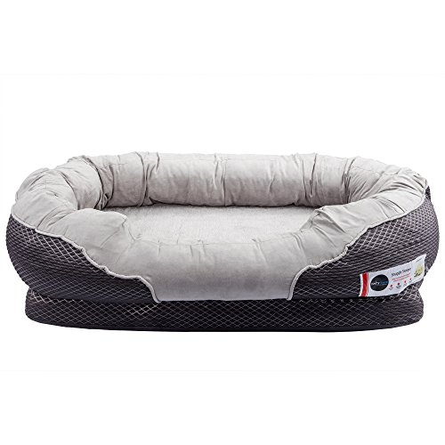BarksBar-Large-Gray-Orthopedic-Dog-Bed-40-x-30-inches-Snuggly-Sleeper-with-Nonslip-Orthopedic-Foam