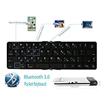 Foldable Pocket Keyboard Wireless Bluetooth Keyboard -- Pefectly Support Apple IOS / Andriod / Microsoft System as iphone 4 / 4S / 5 / 5C / 5S / 6 / 6 Plus Samsung GALAXY Note 3 / Samsung GALAXY S4 S5 Note 4 / HTC One / Moto X