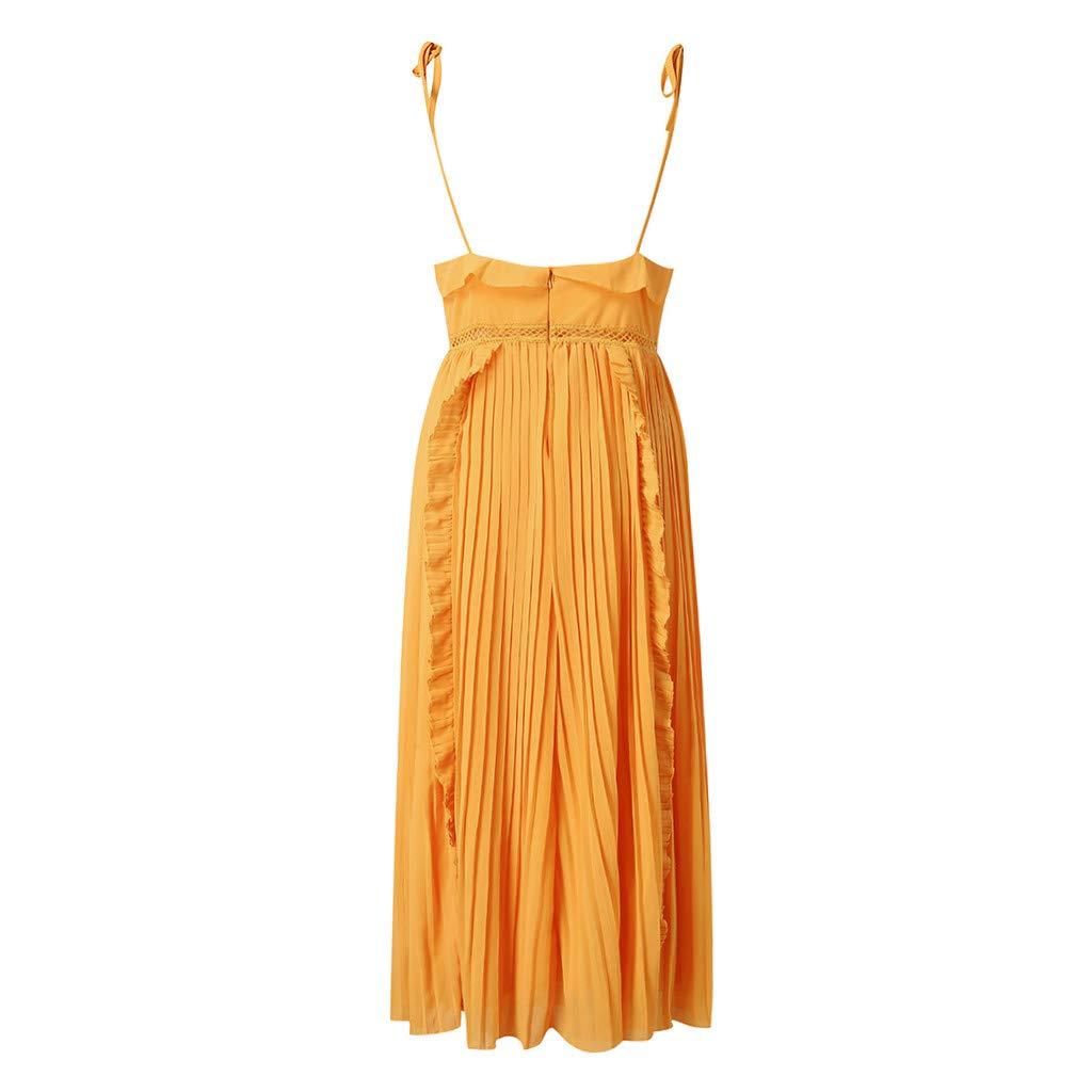 Ultramall Dresses for Women Party Wedding Knee Length Off-Shoulder Ruffles Sleeveless Mini Princess Dress(Yellow,L) by Ultramall (Image #7)