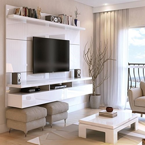 (Manhattan Comfort City 2.2 Collection Floating Entertainment Center with TV Mount Wall Theater Display, 86.5