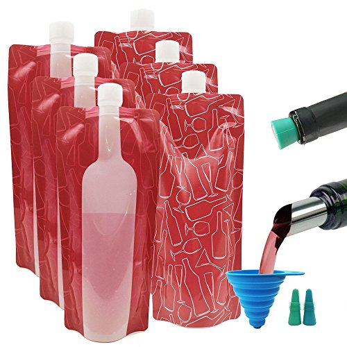6 pcs Wine Bag Flask with 2 Wine Stoppers & Funnel, ANIN 750ml Reusable Foldable Plastic Wine Bottle Cooler Leek Proof Camping Accessories for Travel Hiking Wine Liquor ()