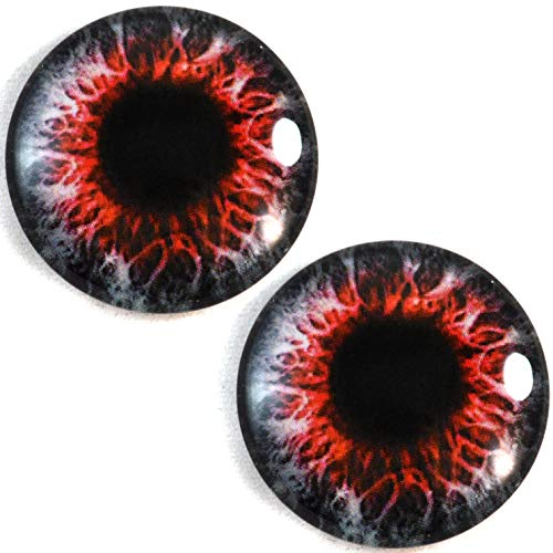 30mm Red and Black Demon Zombie Glass Eyes Unique Pair for Art Dolls, Sculptures, Props, Masks, Fursuits, Jewelry Making, Taxidermy, and More]()