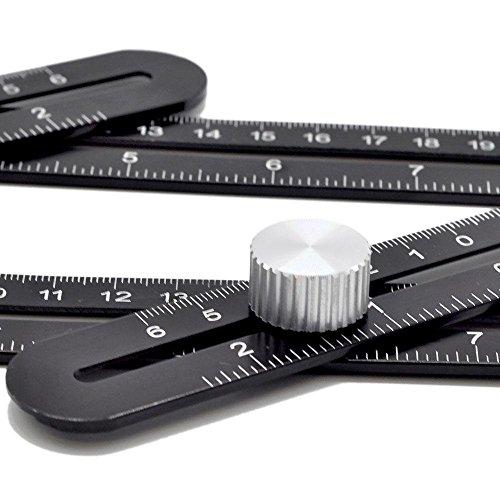 Amenitee Universal Angularizer Ruler - Full Metal Multi Angle Measuring Tool-Ultimate Template Tool-Upgraded Aluminum Alloy Multi Functional Ruler(Black) by Kitchenmate Supllier (Image #3)