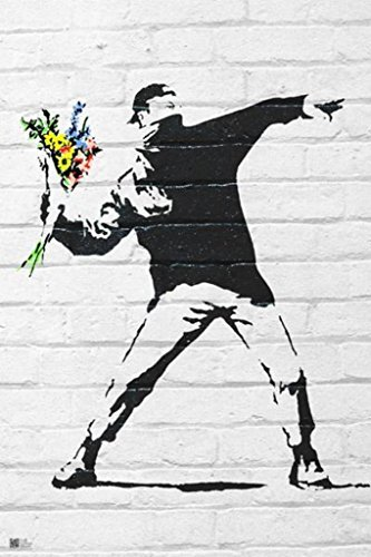 """Flower Bomber by Banksy (Reproduction) 24""""x36"""" Art Print Poster"""