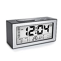Digital Backlight Alarm Clock, Tsumbay Large Display Travel Alarm Clock with Touch Sensor Snooze, Temperature, 2 Set Alarms, 3 Optional Weekday Modes Desk Clock for Bedroom, Kids