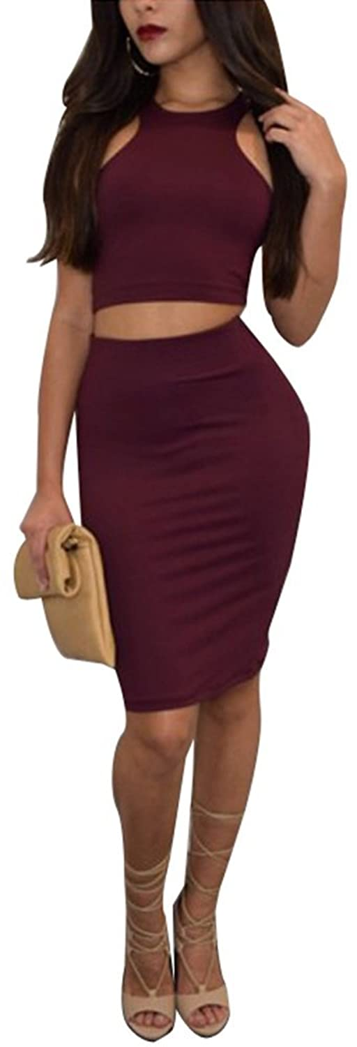 Kearia Women Sexy Two Piece Bodycon Dress Cut Out Crop Top And Midi Skirt