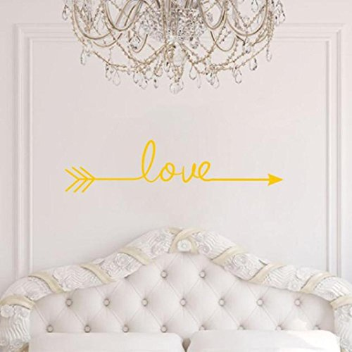 Yellow Wall Decorations (Iuhan Fashion Love Arrow Decal Living Room Bedroom Vinyl Carving Wall Decal Sticker for Home Decoration (yellow))
