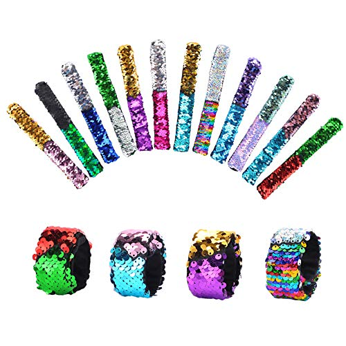 Wotwre Slap Bracelets Party Favors for Kids, Mermaid Reversible Sequin Wristband Birthday Party Supplies Gifts for Girls, 12 Pack ()