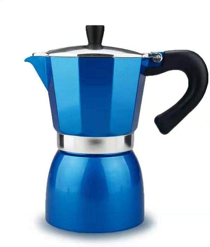 Homie Cafetera Espresso de Aluminio Rojo Moka Cafetera 6 Tazas Latte Mocha con Estufa eléctrica a Gas Percolator Pot Cafeteira, Azul: Amazon.es: Hogar