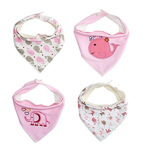 Babe Maps Baby Bandana Drool Bibs, Unisex 4- Pack with Snaps - Soft Absorbent Cotton Bibs for Boys and Girls. Perfect Baby Shower Gift Set (Pink)