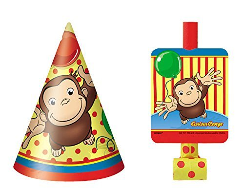 Curious George 8 Party Hats and 8 Blowouts Bundle Birthday Pack -
