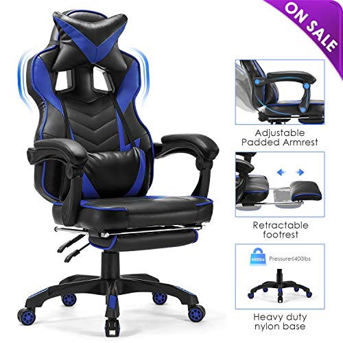 Kealive Reclining Gaming Chair with Footrest, High Back Memory Foam Ergonomic Computer Desk Chair with Headrest and Lumbar Support, PU Leather Adjustable Racing Executive Chair