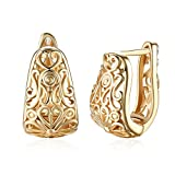 Dainty 14K Gold Filigree Wide Small Hoop Earrings for Womens Oval Hollowed-out Fashion Texture Hoops Hypoallergenic