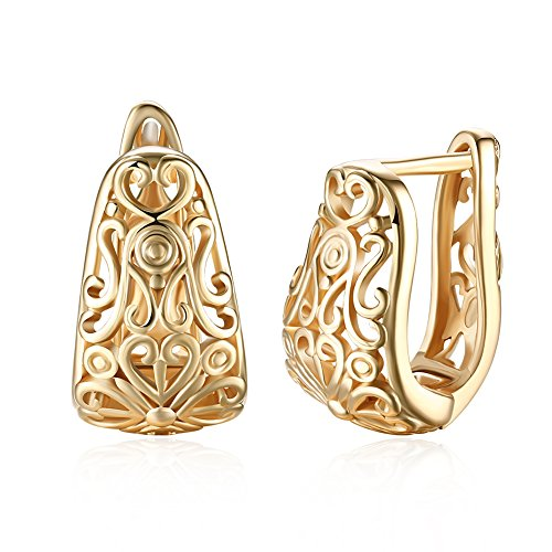 Dainty 14K Gold Filigree Wide Stud Small Hoop Earrings for Womens Oval Hollowed-out Fashion Texture Love Heart Huggie Hoops Hypoallergenic Gifts