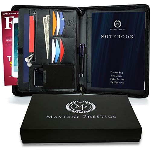 Mastery Prestige Zippered Portfolio/Padfolio Organizer - PU Leather Case with Tablet Sleeve, A4 Notebook, Phone & Business Cards Holders - Professional Interview Document Binder, File Folder