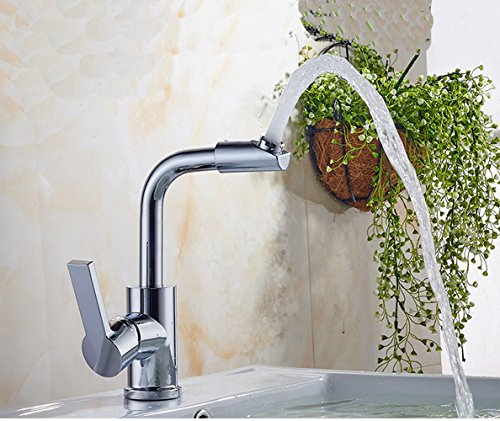Basin Faucet with 360° Rotate Good Valued Modern Hot& Cold Single Handle Bathroom luxury Sink Faucet, Chrome Finish by MUZHI (Image #3)
