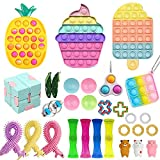 Fidget Toy Pack, Cheap Sensory Fidget Pack Stress Relief Toys Set with Pop Bubble Marble Mesh Pop Anxiety Tube for Kids Adult (Fidget Pack m)